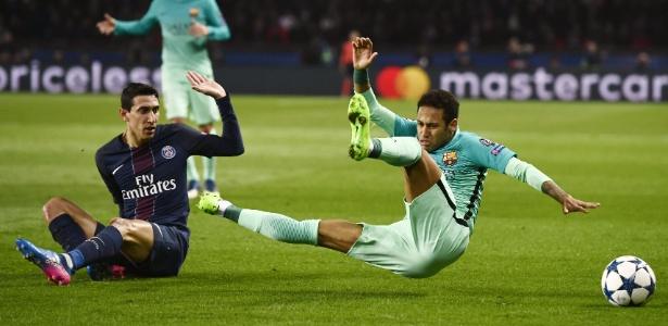 Di Maria, do PSG, ajudou a roubar bolas e deixou o Barça, de Neymar, desconcertado