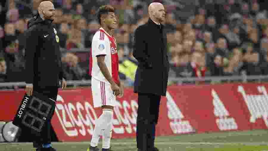 David Neres e o técnico Erik ten Hag - VI Images via Getty Images