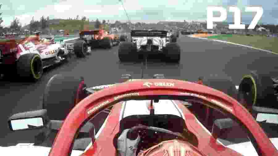 Imagem do carro de Kimi Raikkonen mostra largada espetacular do piloto no GP de Portugal - Reprodução/Twitter/F1