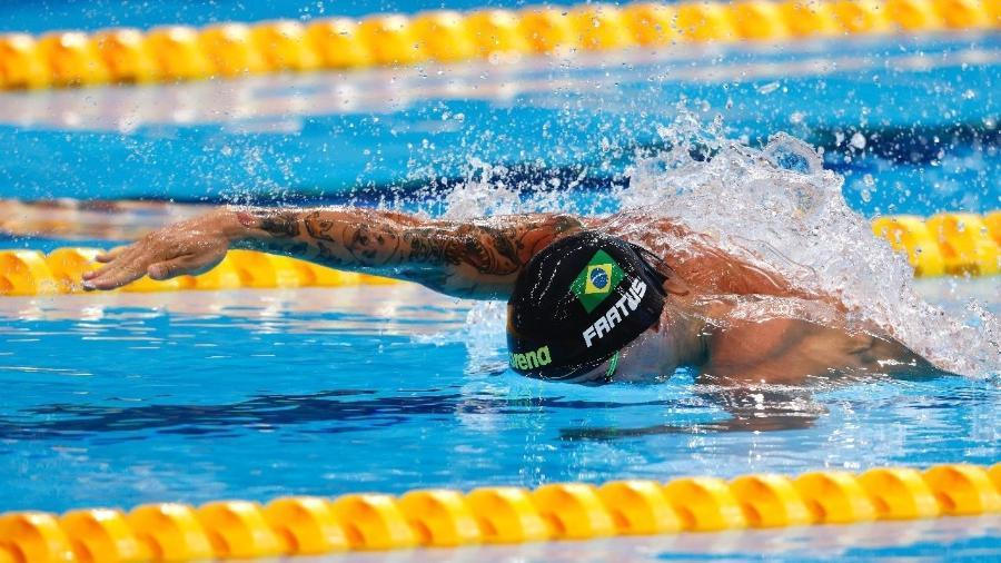 Bruno Fratus, do Brasil, durante a prova qualificatória dos 50m na natação  - Sátiro Sodré/CBDA