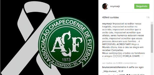 Neymar publicou mensagem de solidariedade à Chapecoense