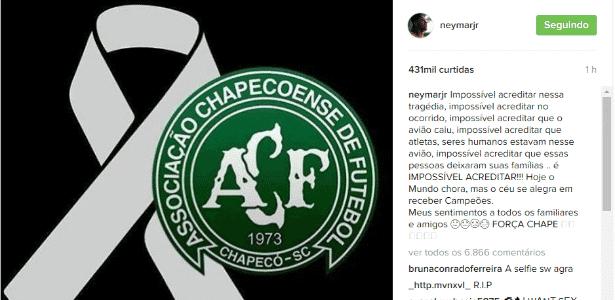 Neymar publicou mensagem de solidariedade à Chapecoense - Instagram/Reprodução