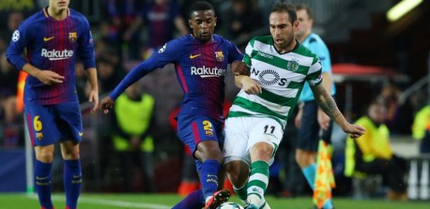 Bruno César disputa lance com Nelson Semedo em jogo entre Sporting e Barcelona - Albert Gea/Reuters