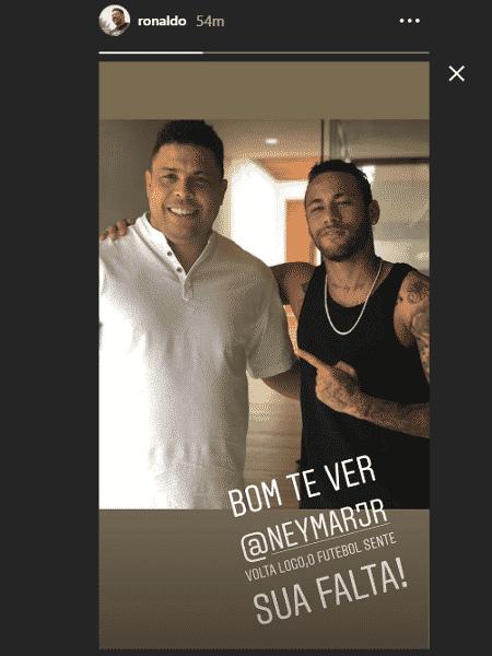 Ronaldo publicou foto com Neymar no Instagram - Reprodução/Instagram
