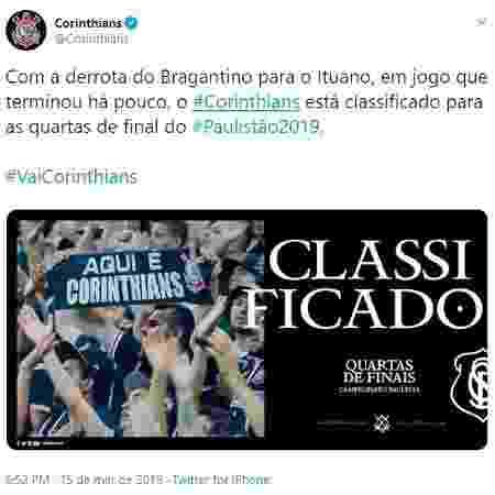 Corinthians comemora classificação mesmo sem estar classificado - Reprodução/Twitter - Reprodução/Twitter