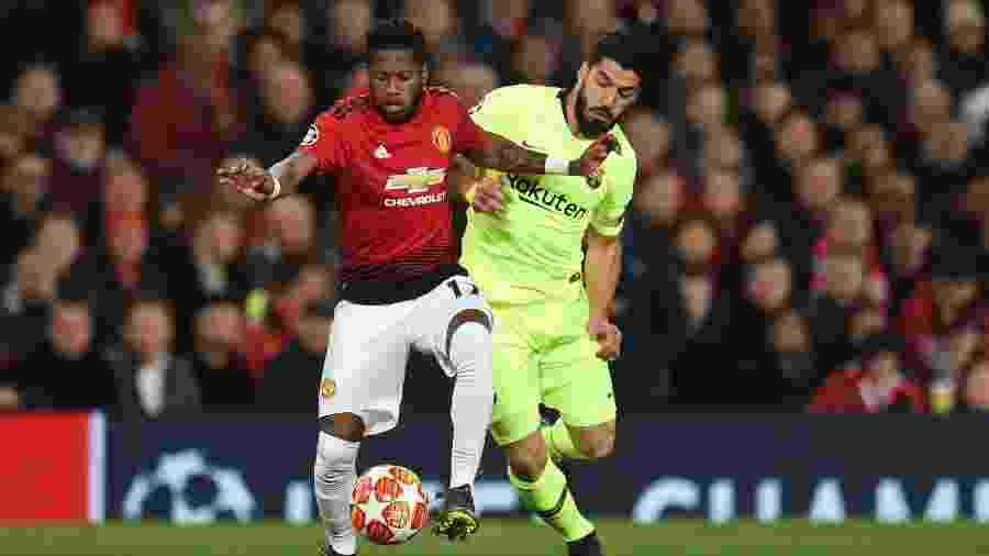 Fred, durante partida entre Manchester United e Barcelona - Oli SCARFF / AFP