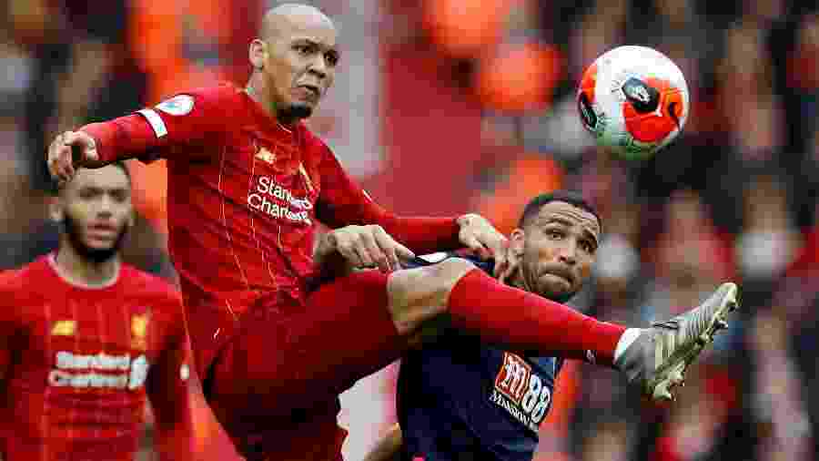Fabinho, durante partida entre Liverpool e Bournemouth - Phil Noble/Reuters