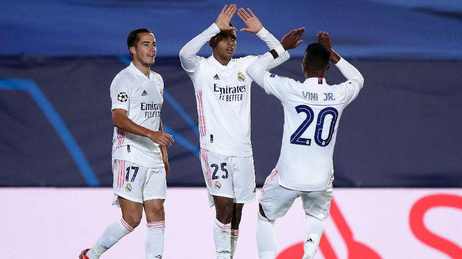 Rodrygo e Vinícius Jr. comemoram gol do Real contra a Inter de Milão, pela Liga dos Campeões - Getty Images