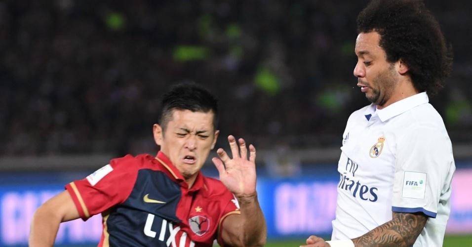 Marcelo na marcação de Ueda em Real Madrid x Kashima Antlers