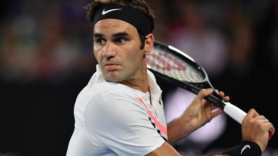 Roger Federer durante jogo contra Tomas Berdych no Aberto da Austrália - Saeed Khan/AFP