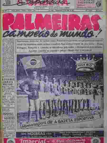 """Capa de """"A Gazeta Esportiva"""" que noticia o título mundial do Palmeiras em 1951 - Reprodução"""