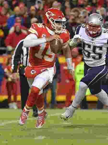 Patrick Mahomes, durante partida entre Kansas City Chiefs e New England Patriots - Denny Medley-USA TODAY Sports