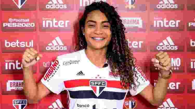 Thaís Regina, zagueira do time profissional feminino do São Paulo - Divulgação/saopaulofc.net - Divulgação/saopaulofc.net