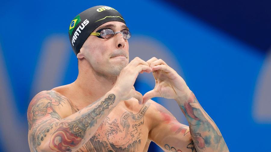 Bruno Fratus comemora a medalha de bronze nos 50m livre nos Jogos Olimpicos-Tóquio 2020 - Satiro Sodré/SSPress/CBDA