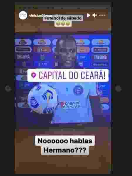 Vina provoca Fortaleza após derrota no Brasileirão - Reprodução/Instagram - Reprodução/Instagram