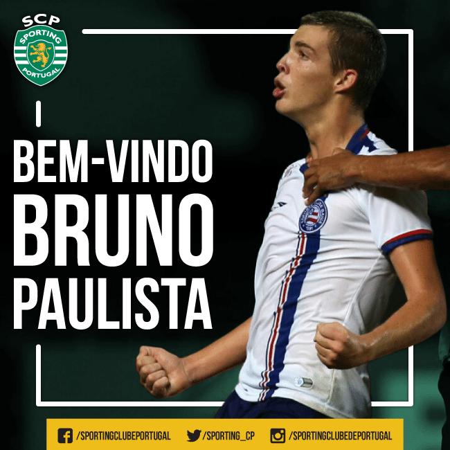 Sporting, de Portugal, divulga imagem de boas-vindas a Bruno Paulista, ex-Bahia