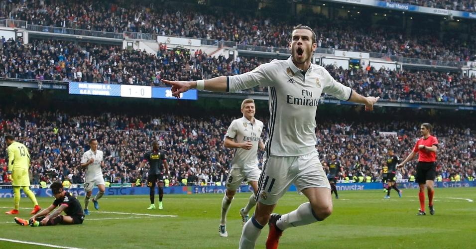 Bale comemora gol para o Real Madrid contra o Espanyol