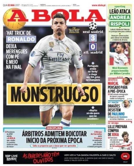 A Bola repercute atuação de Cristiano Ronaldo