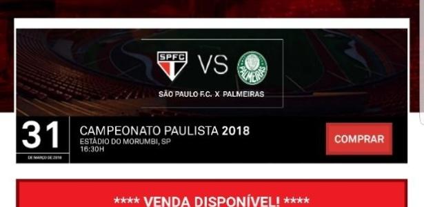 Imagem da publicada para a venda antecipada de ingressos para a final do Paulista com o São Paulo