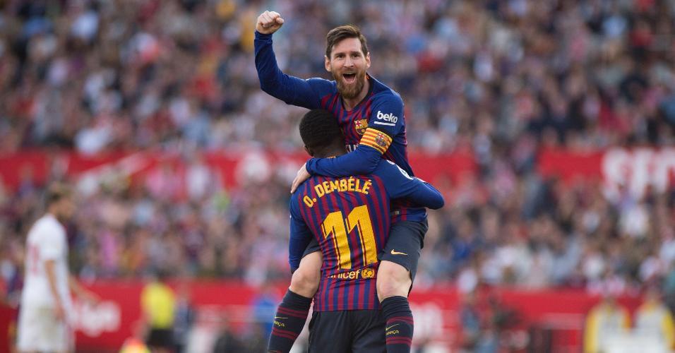 Messi fez três gols contra o Sevilla