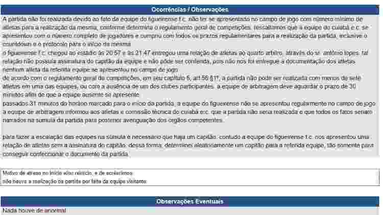 Trecho de súmula do jogo entre Cuiabá e Figueirense, pela Série B - Reprodução/Site oficial da CBF