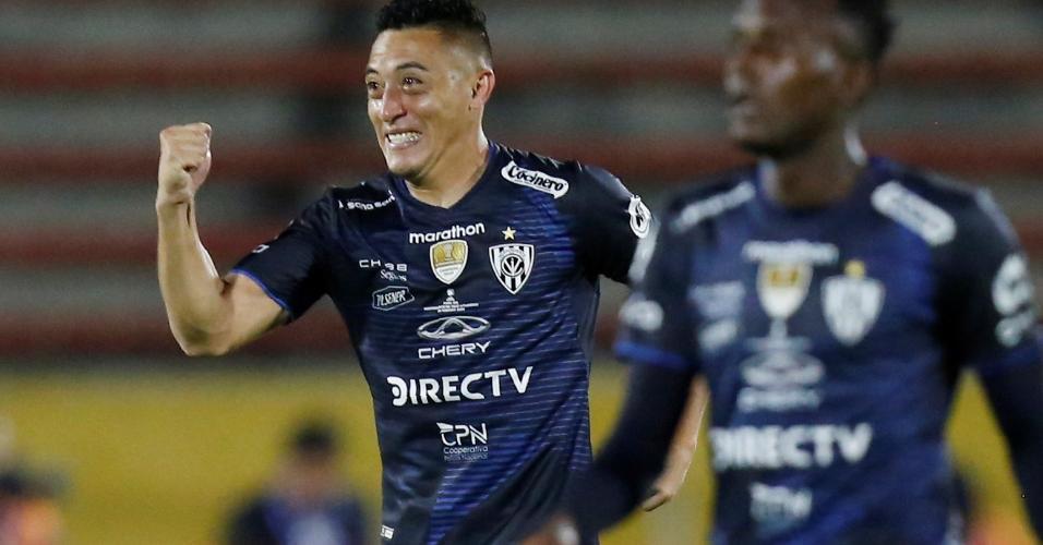 Murillo, do Del Valle, comemora gol contra o Flamengo, pela Recopa Sul-Americana