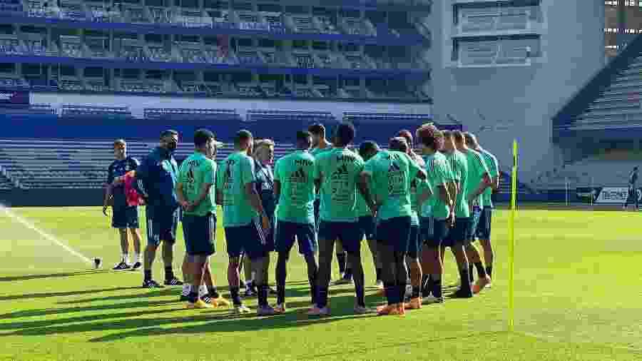 Treino do Flamengo em Guayaquil com técnico Domènec Torrent - Reprodução/@Flamengo