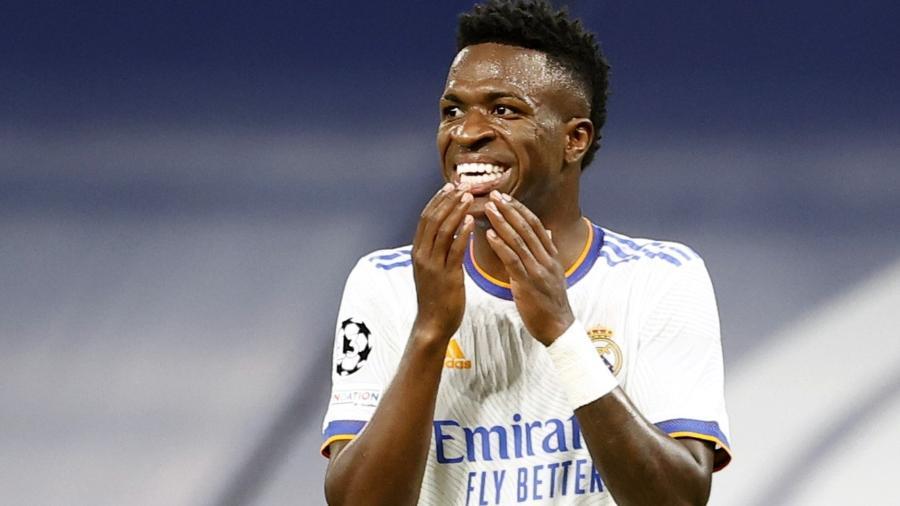 Vinicius Jr., atacante do Real Madrid, na partida contra o Sheriff, pela Liga dos Campeões - REUTERS