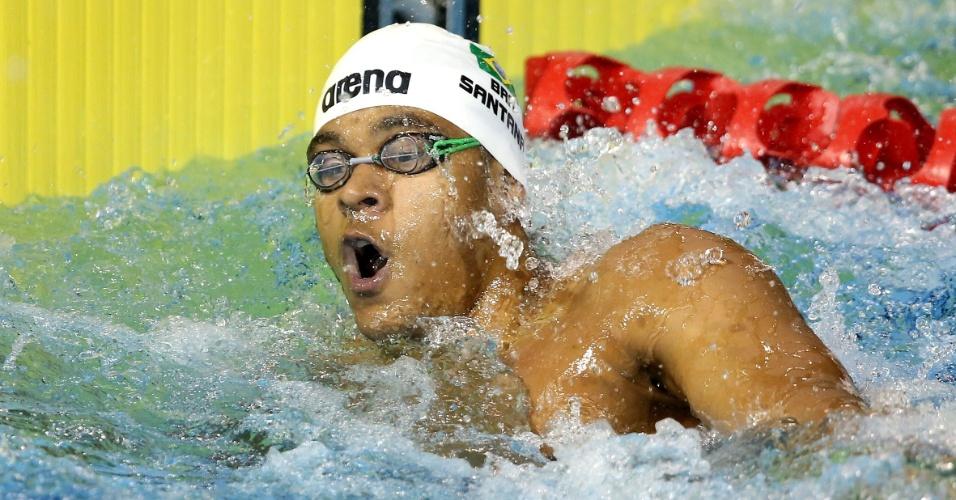Matheus Santana disputou as eliminatórias dos 100 m livre e se classificou para a final da prova