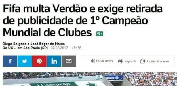 Imagem de reportagem do UOL Esporte que viralizou é falsa