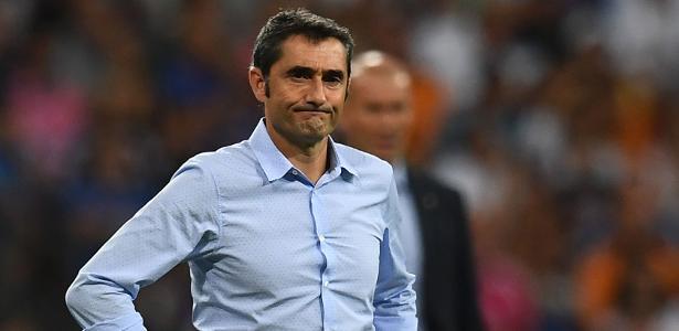 Ernesto Valverde, técnico do Barcelona, durante a partida contra o Real Madrid