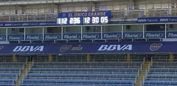Placar eletrônica traz a contagem do tempo em que o Boca Juniors está na elite