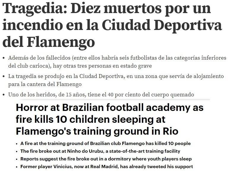 Mundo Deportivo e Daily Mail deram maior destaque à tragédia