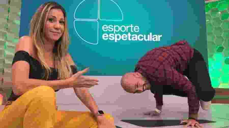 Bárbara Coelho e Lucas Gutierrez nos bastidores do Esporte Espetacular - Reproduçã/Stories
