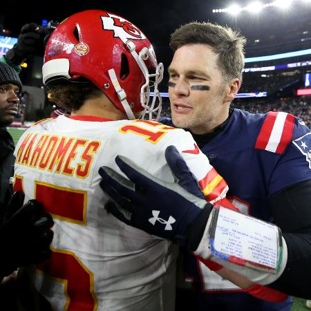 Mahomes e Brady já travaram duelos épicos e agora se encontram no Super Bowl - Maddie Meyer/Getty Images