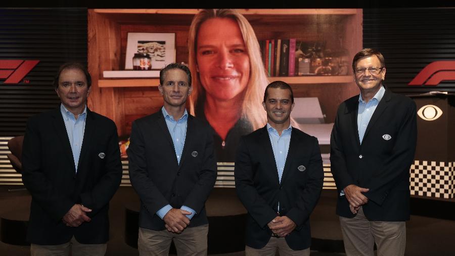 Reginaldo Leme, Felipe Giaffone, Mariana Becker (ao fundo), Max Wilson e Sergio Mauricio farão as transmissões da Fórmula 1 na Band - Rafael Cusato/Band