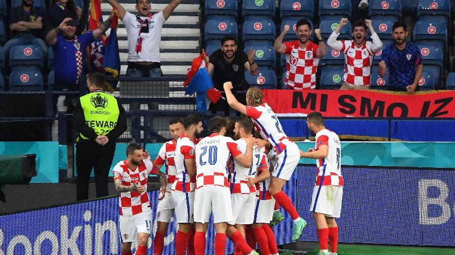 Modric comemora gol da Croácia contra a Escócia na Eurocopa - Pool via REUTERS