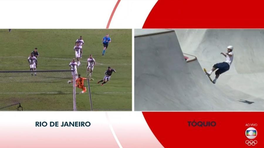 A emissora precisou reprisar o gol do Vasco após perdê-lo; o skate era foco naquele momento - Reprodução