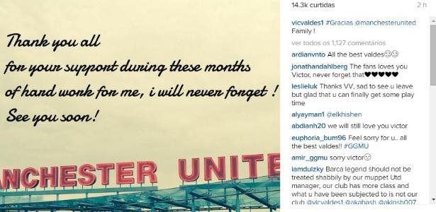 Goleiro Victor Valdés se despediu dos torcedores do Manchester United com mensagem no Instagram - Reprodução/Instagram