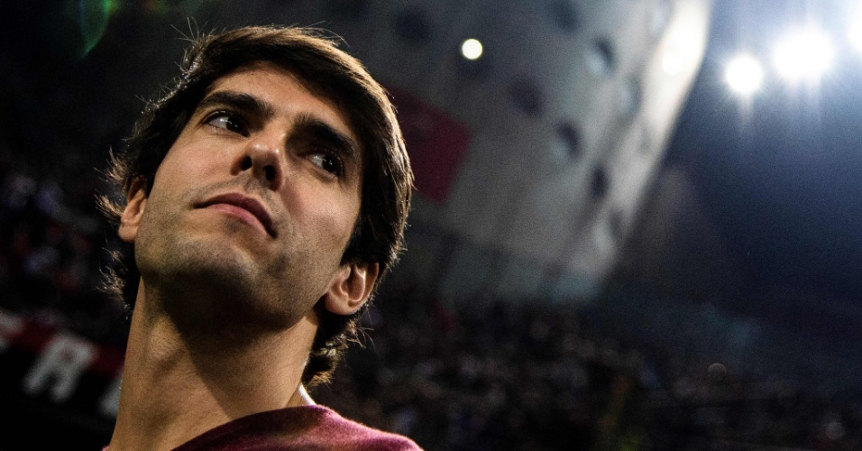 Kaká em visita ao estádio do Milan durante a partida com a Roma, no fim de semana