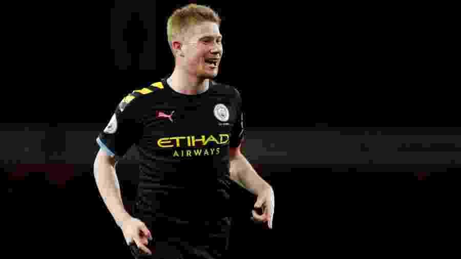De Bruyne, do Manchester City, comemora gol sobre o Arsenal pelo Inglês  - Reuters/John Sibley