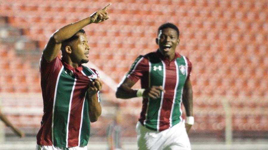 Jefferson, do Fluminense, comemora seu gol marcado diante do Socorro (SE), durante partida válida pela 1ª rodada da Copa São Paulo, a Copinha - Luciano Claudino/Estadão Conteúdo