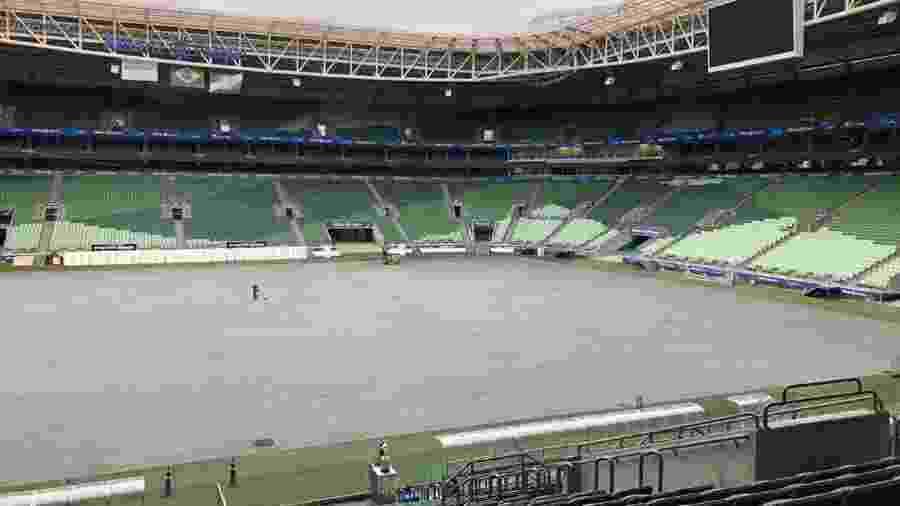 Em obras há 12 dias, gramado tem previsão de entrega até a segunda quinzena de fevereiro - Divulgação/Allianz Parque
