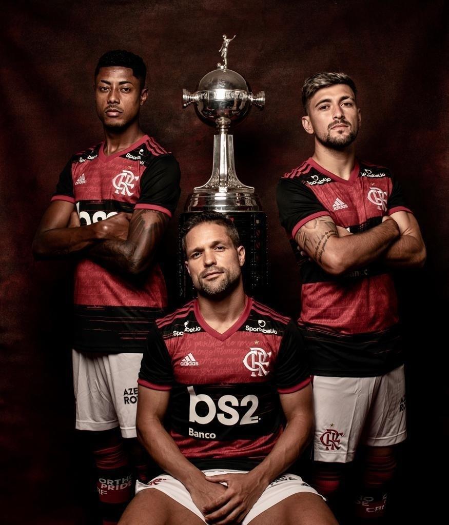 Bruno Henrique, Arrascaeta e Diego Ribas, jogadores do Flamengo