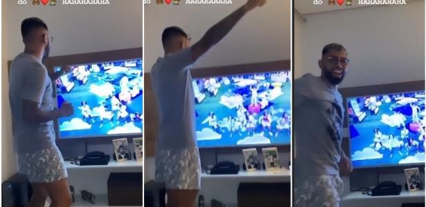 Gabigol dança em frente à TV e curte festa do pijama do BBB em casa