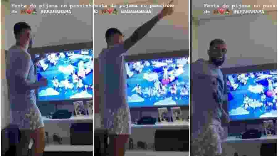 Gabigol dança enquanto assiste à festa do pijama do BBB 20 - Reprodução/Instagram