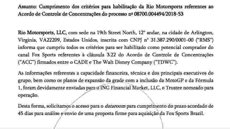UOL Esporte teve acesso a documento que prova a intenção da Rio Motorsport no Fox Sports do Brasil - Reprodução
