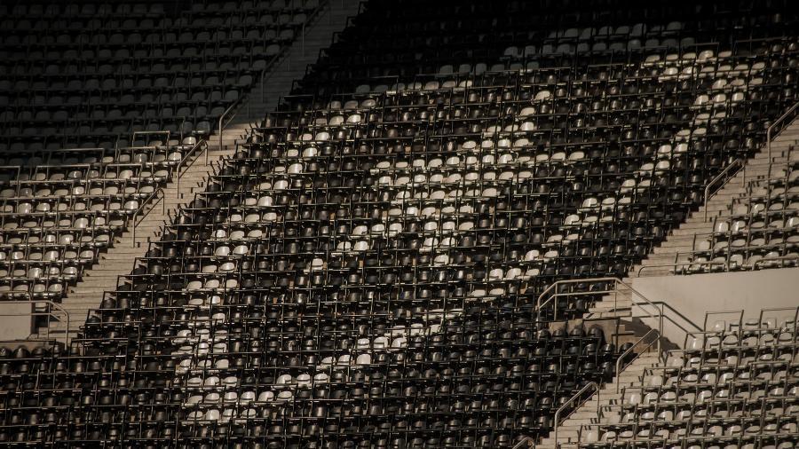 Ala de assentos da arquibancada do estádio Nilton Santos, o Engenhão, do Botafogo - Allan Carvalho/NurPhoto via Getty Images