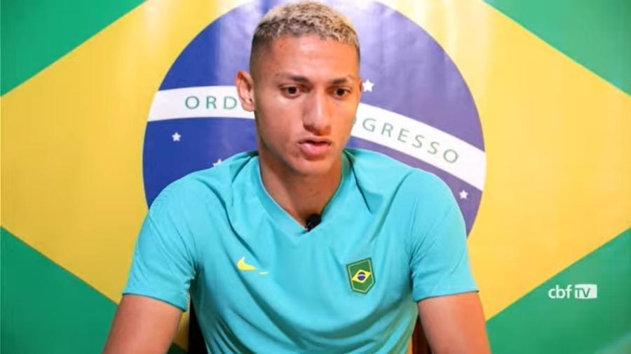 Richarlison na entrevista coletiva de hoje (29) da seleção brasileira olímpica, direto do Japão - Reprodução/CBF TV