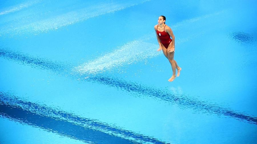 Pamela Ware teve problemas na semifinal do trampolim de 3 metros e recebeu nota 0 - STEFAN WERMUTH/REUTERS
